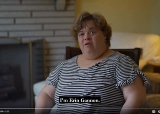 Image of Emmaus resident Erin Gannon clipped from advocacy video.